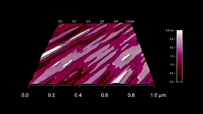 A gypsum crystal etched with water, taken with Tap300Al-G AFM probes on an Asylum Cypher AFM.