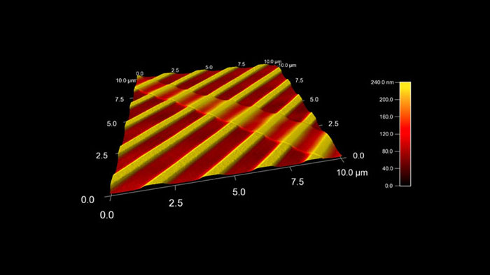 A thin strip of single layer Graphene atop a ridged PDMS polymer substrate, 10 micron scan taken with AIOAl AFM probe using the Soft tapping (150 kHz) cantilever
