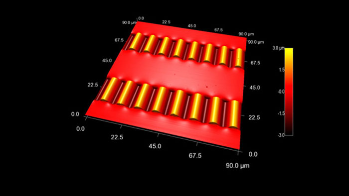 Compressed silicon nanoribbons on a flexible PDMS substrate, taken with Tap300Al-G AFM probes on an Asylum MFP-3D AFM.