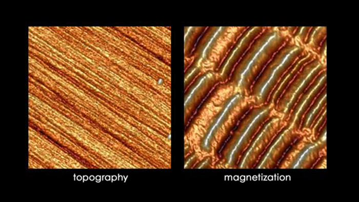 Topographic image (left) and Magnetic Force Microscopy (MFM) phase image (right) of a HDD platter surface. The high and low areas on the magnetic scan are regions with different orientation of the magnetic dipoles that store binary 1s and 0s. Scan size 5