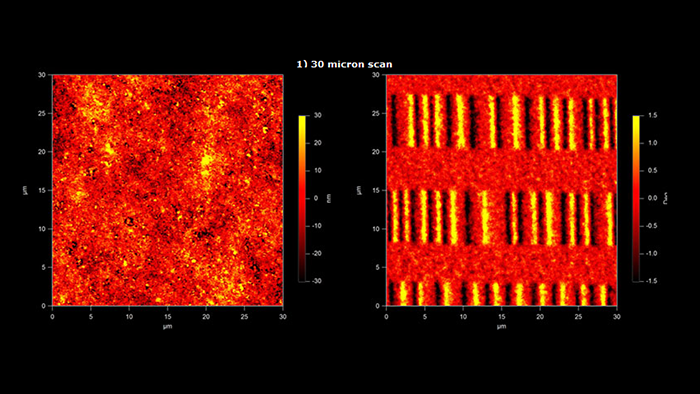 Images of the surface of a magnetic ZIP disk - Surface topography and Magnetic field images taken with Magnetic Multi75M AFM probe 30 micro meters