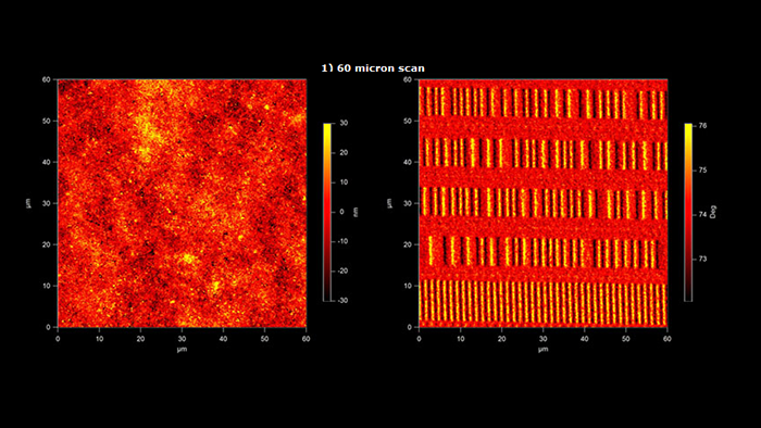 Images of the surface of a magnetic ZIP disk - Surface topography and Magnetic field images taken with Magnetic Multi75M AFM probe - 60 micro meters