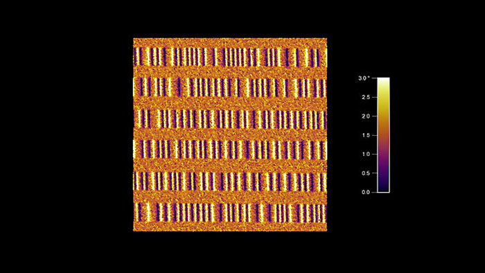 Magnetic field MFM image of a zip disk, taken with Multi75M AFM probes on an Asylum MFP-3D AFM.