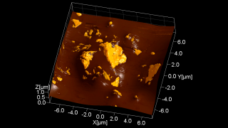 A definite favorite of AFM researchers worldwide (or at least of the one who produced this image), Lindt's 99% cocoa Excellence bar has very intense cocoa taste. The topography image of a bar's back surface is rendered in 3D and overlaid with the phase image. The false-color yellowish spots are regions of growing cocoa butter crystals.