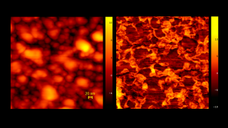 Cd enriched areas in Zn0.4Cd0.6Se, topography and phase image. In order to obtain  simultaneously good contrast in the phase image without distortion in the height image, due to surface damage, interleave mode with light tapping conditions for the height scan, and hard tapping for the phase image was used, repectively.